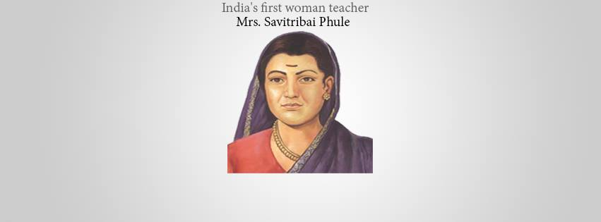 mrs savitribai phule , the first woman teacher in india country.